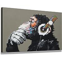 bestpricepictures 80 x 60 cm Bild auf Leinwand AFFE mit Kopfhörer 4002-SCT deutsche Marke und Lager - Die Bilder/das…