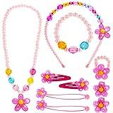 Hifot Kinderschmuck Kleine Mädchen Halskette Armband Ring Clip-on Ohrringe Haar Klammern Einstellen Set, Modeschmuck Party Fa