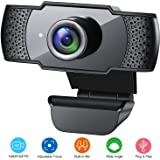 ANVASK Webcam with microphone, 1080P HD PC Webcam for PC, Laptops,Desktop,USB Webcam web camera with microphone built-in Mic, Plug and Play for Video Calling, Online study,Conference,Black