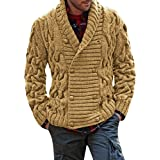 Gemijacka Mens Knitted Cardigan Sweaters Shawl Collar Double Breasted Winter Solid Knit Jackets