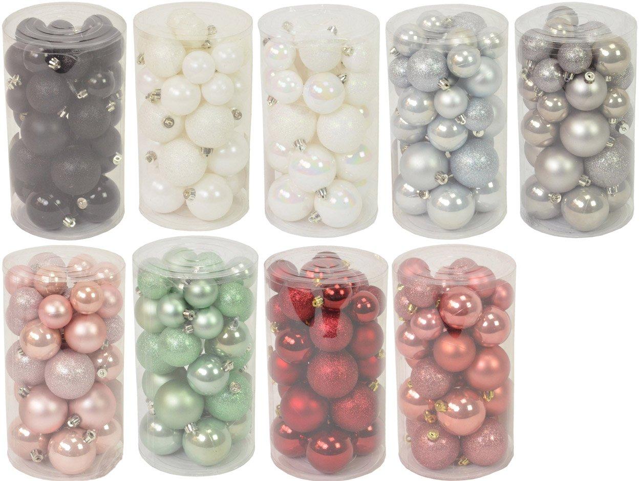 CHICCIE-30-Set-Weihnachtskugeln-Winterweiss-Wei-Ochsenblut-Seifenblasen-Rosa-Schwarz-Wollgrau-GefrostetBlau-Eukalyptus-Marmor-Pink