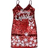 SOIMISS Traje de Navidad Vestido de Lentejuelas Mini Club Vestido de Fiesta Navidad Clubwear Vestido de Lentejuelas Cuello en