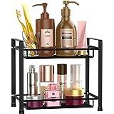 Bathroom Countertop Organizer, F-color 2 Tier Detachable Kitchen Spice Rack Wire Basket Storage Counter Shelf Organizer, Blac