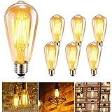 Ampoule LED Edison GolWof Lot de 6 Ampoule Edison Vintage E27 Ampoule Rétro Ampoule Filament Lampe 360° Grand Angle Décorativ