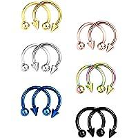 12 pezzi in acciaio INOX orecchini a cerchio setto naso a forma di ferro di cavallo piercing ad anello per piercing per…