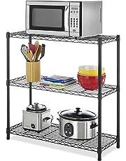 Callas Height Adjustable Shelf Rack Leveling Feet Chromium Steel Layer Shelf Organizer for Kitchen, Garage and Office (3-Shelf, Black)
