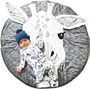 Lzttyee Cotton Round Giraffe Nursery Rug Baby Floor Playmats Crawling Mat Game Blanket for Kids' Room Decoration Dark Grey