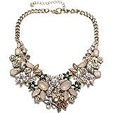 Collana girocollo vintage color oro con cristalli scintillanti, per feste