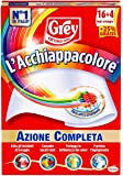 Grey L'Acchiappacolore Fogli Cattura Colore Lavatrice Evita Incidenti Lavaggio, Foglietti Acchiappacolore e Anti-Sporco, Confezione 20 Fogli