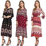 Zeagoo Women's Bohemian Long Sleeve Button Print Casual Long Maxi Dress