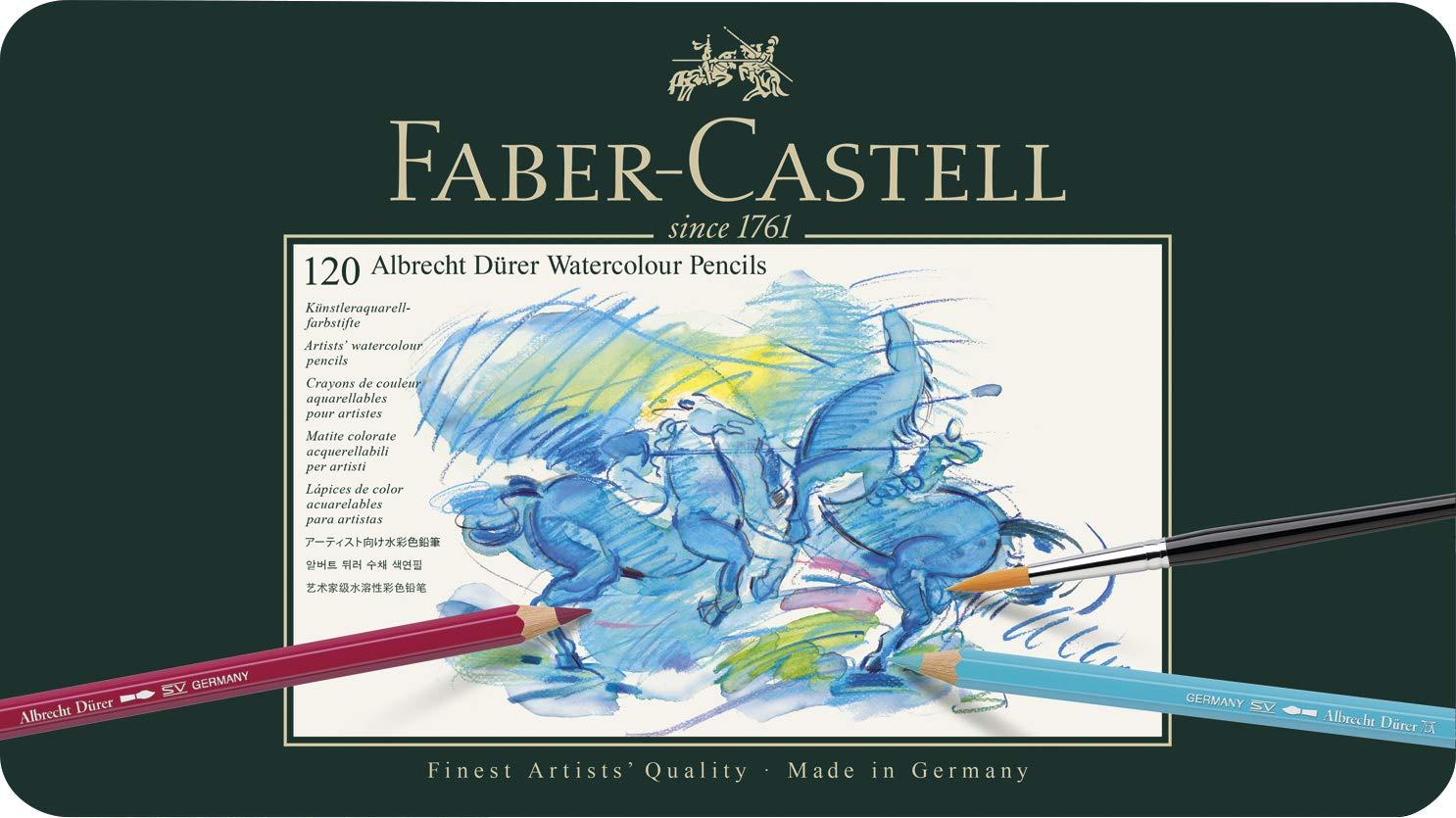 Faber-Castell 117511 – Estuche de metal con 120 ecolápices acuarelables, multicolor