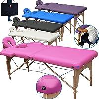 Beltom Table de Massage 2 Zones Portables Cosmetique lit esthetique Pliante Reiki + Sac - Rose