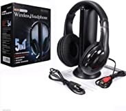 5 in 1 Hi-Fi Wireless Headset FM Radio Headphone Online Chat Earphone for TV Video Game DVD MP3 PC (Black)