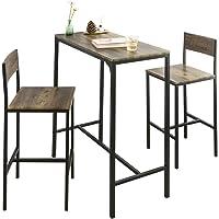 SoBuy OGT03-XL Lot Table et 2 Chaises de Bar de Style Industriel Ensemble Table de Bar + Tabourets de Bar Table Mange…