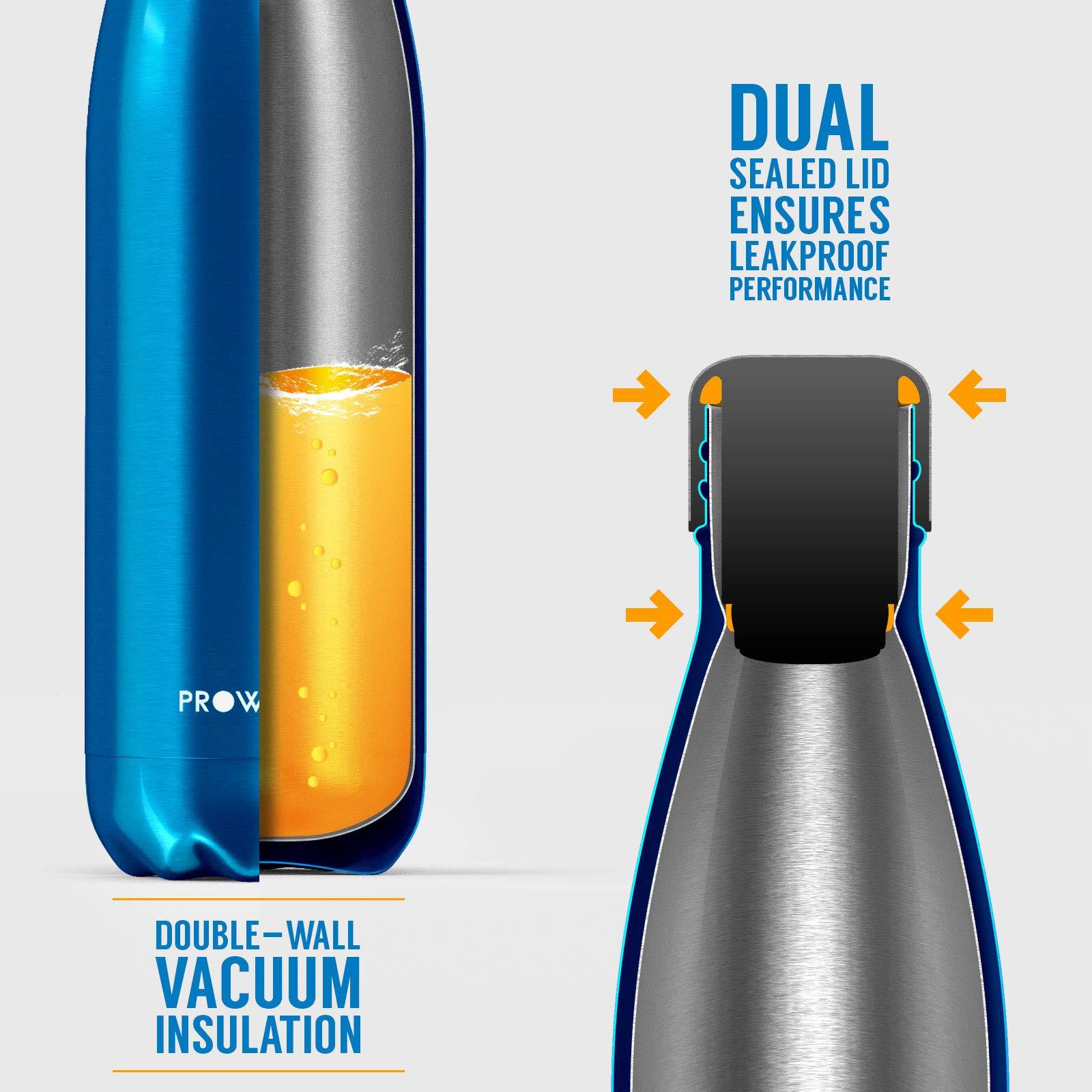 Proworks bottiglia di acqua in acciaio inox-isolata in Metallo Sport /& Palestra bevande PALLONE