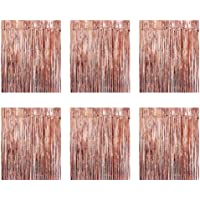 Gobesty Lot de 6 rideaux à lamettes/rideaux métallisés - Or rose - Paillettes - Décoration pour fête, mariage…
