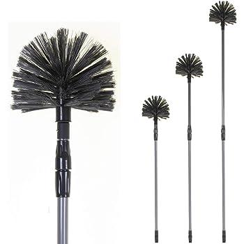 MSV Cobweb Brush with Telescopic Handle Round White//Black//Blue 30 x 20 x 15 cm