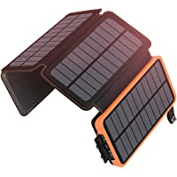 SOARAISE Solarladegerät 25000mAh Solar Power Bank mit 4 Faltbaren Sonnenkollektoren und 2 Anschlüsse, Tragbares Handy…