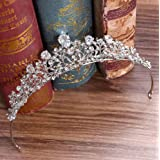 Jovono, coroncina per il matrimonio, decorata con strass, color argento, da donna