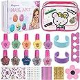 Anpro Kit de Manicura,Esmalte de Uñas Desgarrado para Niñas, Juguetes para Chicas, Regalo de Princesa para Niñas en Fiesta,Cu