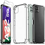 Ferilinso Funda para Samsung Galaxy A22 5G + 2 Piezas Cristal Templado Protector de Pantalla [Transparente TPU Carcasa] [10X