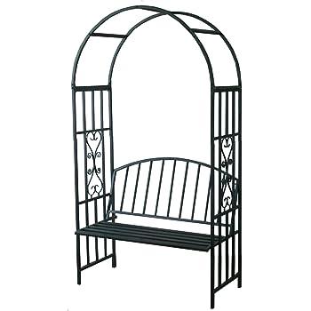 """Rosenbogen """"Paris"""" mit praktischer Sitzbank, Rankhilfe, Pergola, für alle Rankpflanzen, Metall, Sitzbank"""