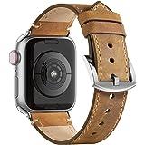 Adepoy för Apple Watch armband läder 38 mm 40 mm 42 mm 44 mm äkta läderrem kompatibel med iWatch serien 5/4/3/2/1