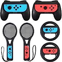 LiNKFOR 3 In 1 Kit per Nintendo Switch 2 Grip Impugnature 2 Racchette da Tennis e 2 Volanti Kit di Switch Controller per…