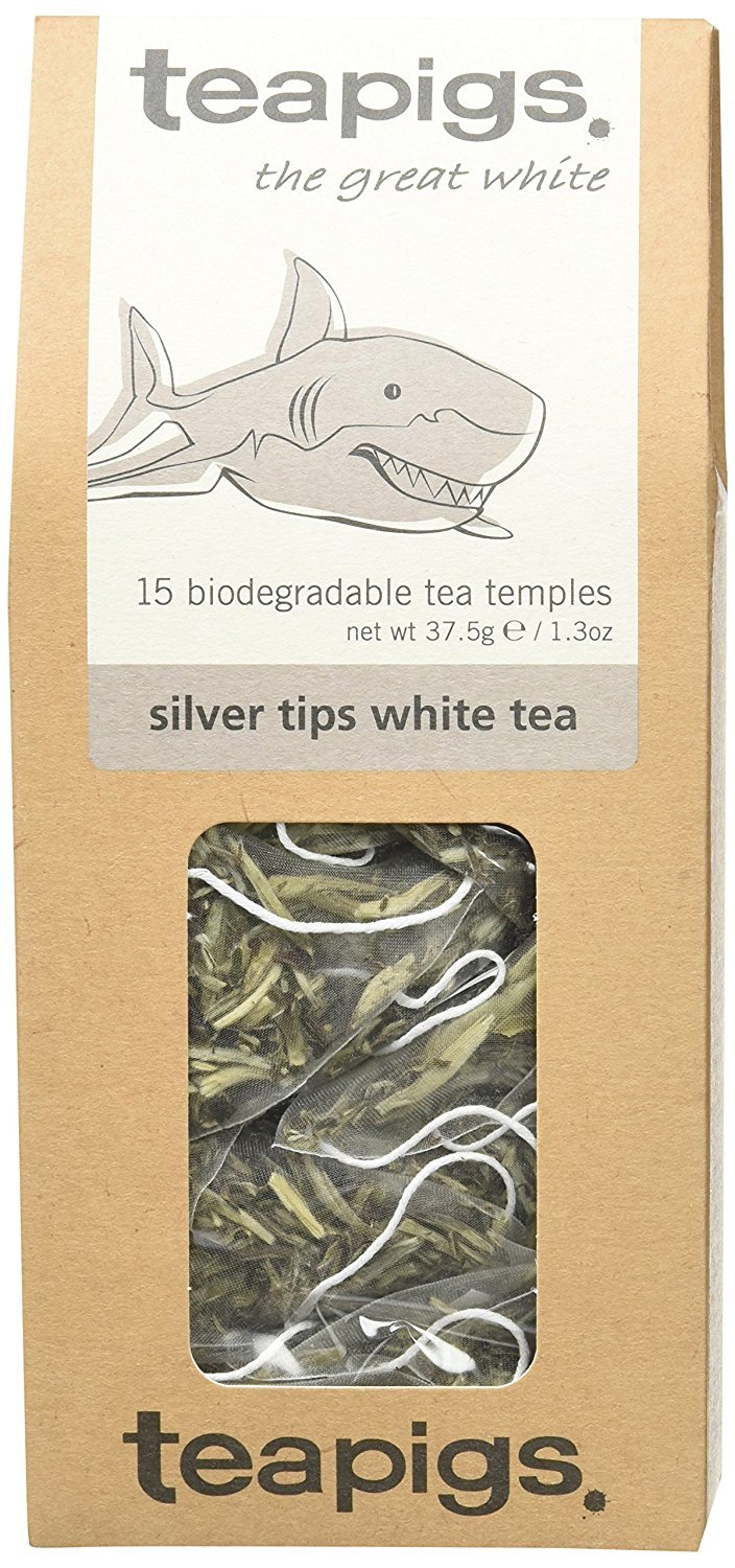 Teapigs silver tips white tea (white tea) (15 bags) (a fruity tea with aromas of apricots, peach) (brews in 3 minutes)