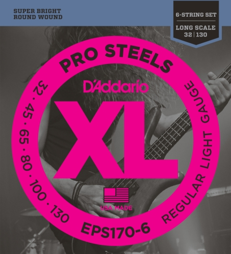 D'Addario EPS170-6 Saitensatz für 6-Saiter E-Bass 0,08 - 0,26 cm (.030 - .130 Zoll)