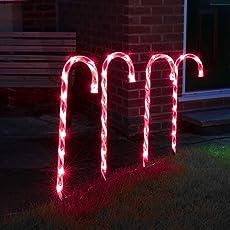 4-er Set: strombetriebene, beleuchtete, weihnachtliche Zuckerstangen Dekoration für Außen/Innen, von Festive Lights (Rot/Weiß)