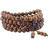 mookaitedecor Braccialetto elastico in legno con 108 perline, buddista tibetana, collana buddista, collana per yoga e meditaz