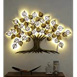 Home and Bazaar Rajasthani Ethnic Handcrafted Metal Decorative Tree Wall Art Golden with LED Size 55x2x38 Inch Powder Coated
