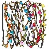 Rovtop 10Psc Coroncina di Fiori Multicolore, Elastico Cerchietti Capelli, Adatto a Diversi Tipi di Testa, Accessori per Capel