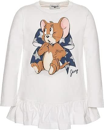 MONNALISA T-Shirt Panna con Balza Stampa Jerry