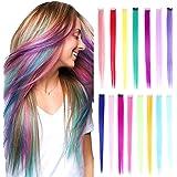 15stuks regenboog kleur steil haar extensions clip in 20inch multi-color synthetische clip in hair extensions feest hoogtepun