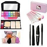MY TYA Fashion Makeup Kit for Girls + Premium Hello Kitty Makeup Brushes 7 Piece + Kelli Makeup Sponges 6 Piece + Eye Liner &