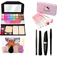 MY TYA Fashion Makeup Kit for Girls + Premium Hello Kitty Makeup Brushes 7 Piece + Kelli Makeup Sponges 6 Piece + Eye…