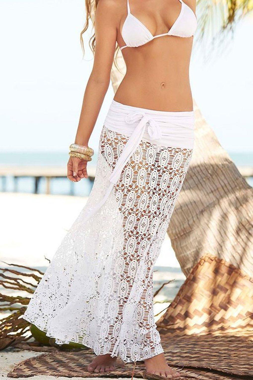 Gonna da Spiaggia Donna Moda Bohemien Hippie Chic Abito Bustier Lungo Gonne Lunghe a Vita Alta Eleganti Vestito di Pizzo… 4 spesavip