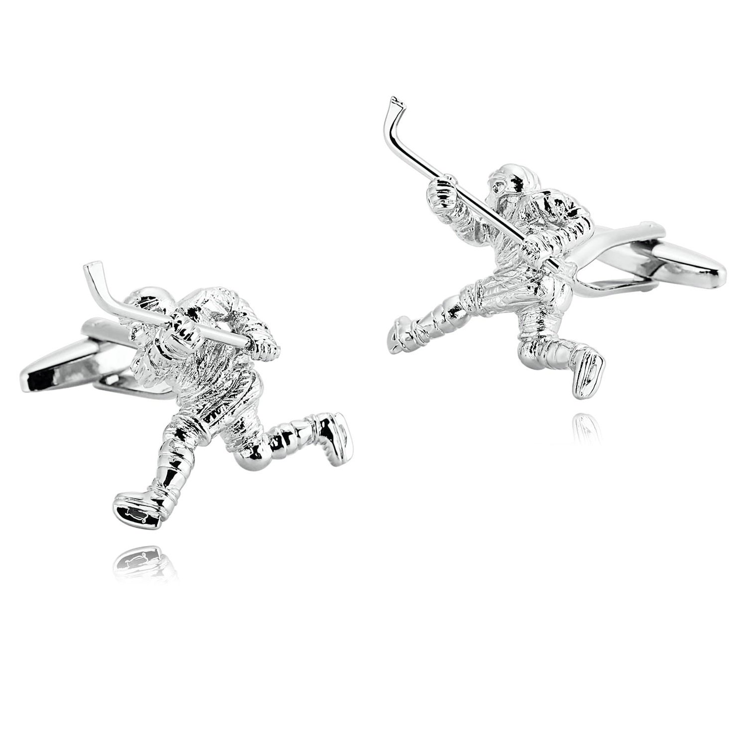 Amody Stainless Steel Silver Jewelry Ice Hockey Player Cufflinks for Mens 3×2.9CM