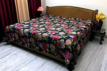 Stylo Culture Bedspread Double Bed Hand Stitch Kantha Bedding Printed Cotton Decor Tropical Black