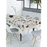 Clasiko 6 Seater PVC Dining Table Cover; Anti Slip; 60x90 Inches; Purple Flowers & Green Leaves