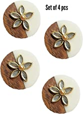 Paushak Boutique Double Combination Wooden and White Button for Indian Dresses for Kurties,Gowns and Party Wears Dresses (Set of 4)