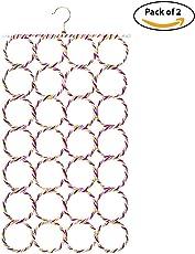 HOKIPO Metal Folding Ring Hanger, 28 Rings, Random Colors