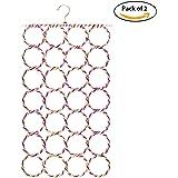 HOKIPO® Metal Folding Scarf Ring Hanger, 28 Rings, Set of 2, Random Colors