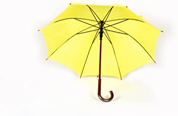 Shroff's Anchor Large Yellow Wooden J Handled Umbrella