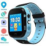 Enfants Smartwatch - GPS/LBS Position Tracker Enfant SOS Aide Montres Appareil Photo Numérique Mobile Téléphone Mobile Montre Cadeau Enfants pour Filles Garçons (Blue)