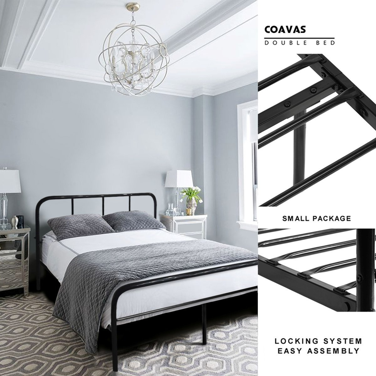 Coavas Double Bed Frame 4ft 6 Bed Frame with 2 headboard Metal Bed ...