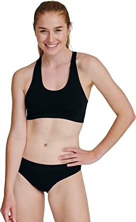 DANISH ENDURANCE Seamless Bamboo Bra for Women, Comfortable Yoga Wire-Free Bustier Bra with Removable Pads, Soft and Stretchy, Black, Blue, Nude Beige, 1 Pack