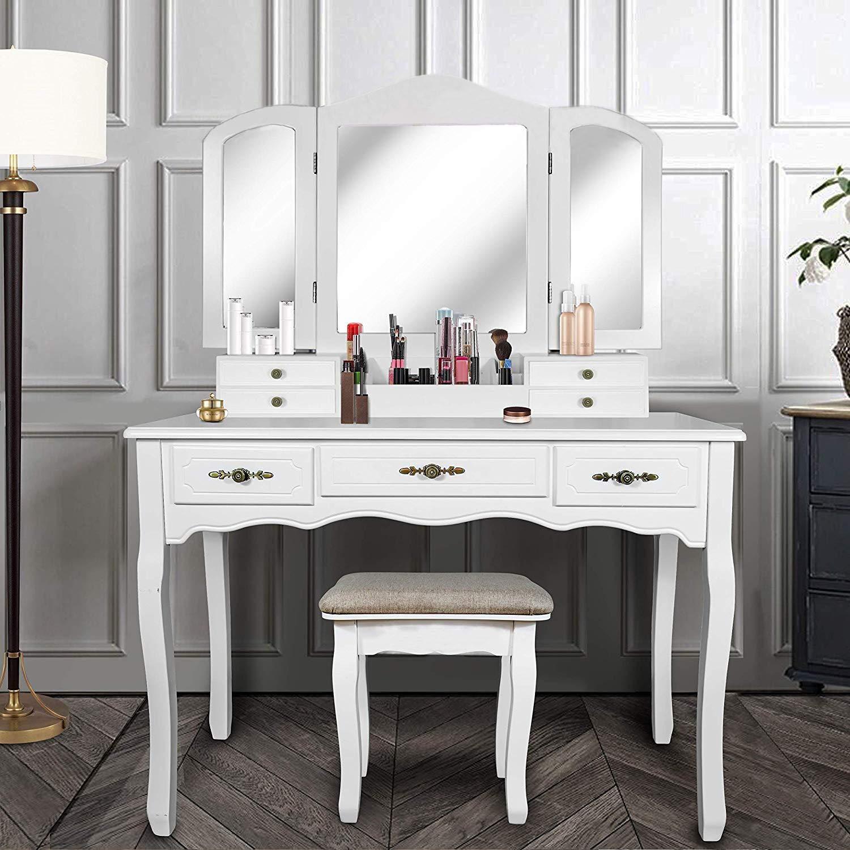 YOUKE Meuble Maquillage avec 3 Miroirs, 7 Tiroirs, 1 Tabouret,Pieds ...